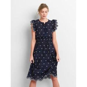 GAP Navy Ruffle Trim Eyelet Midi Dress